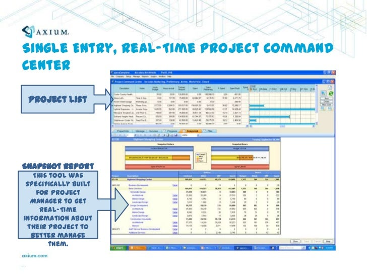 Single Entry, Real-Time Project Command Center<br />Project List<br />Snapshot Report<br />This tool was specifically buil...