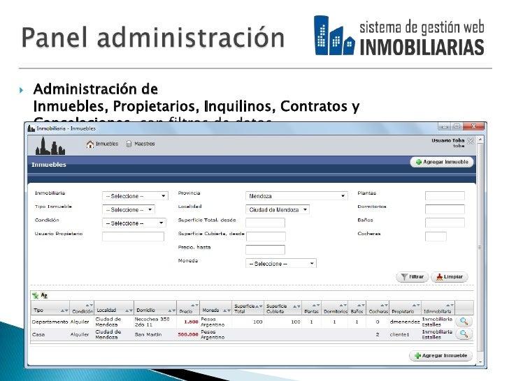 Sistema web para la gesti n de inmobiliarias for Paginas de inmuebles