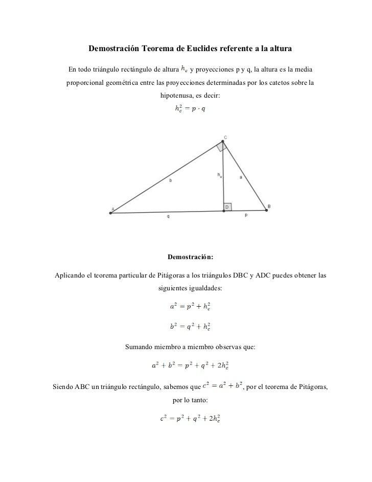 Demostración Teorema de Euclides referente a la altura      En todo triángulo rectángulo de altura   y proyecciones p y q,...