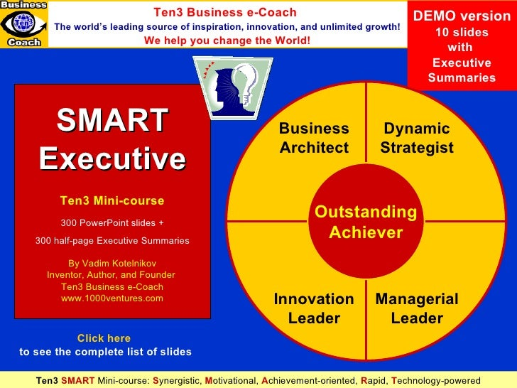 SMART Executive (demo version) DEMO version 10 slides with  Executive Summaries SMART Executive Ten3 Mini-course 300 Power...