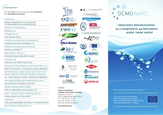 Project partners  The DEMOWARE consortium comprises 27 institutions  from ten different countries.  ACTEON SARL  AGENZIA R...