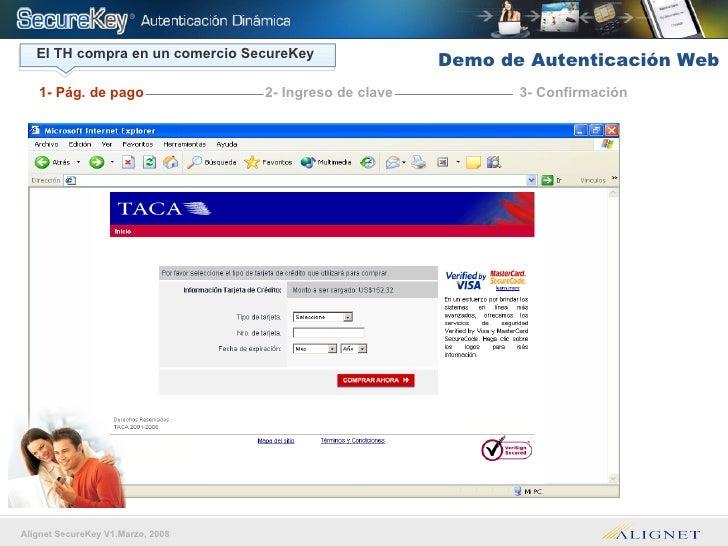 El TH compra en un comercio SecureKey 1- Pág. de pago 3- Confirmación 2- Ingreso de clave Demo de Autenticación Web