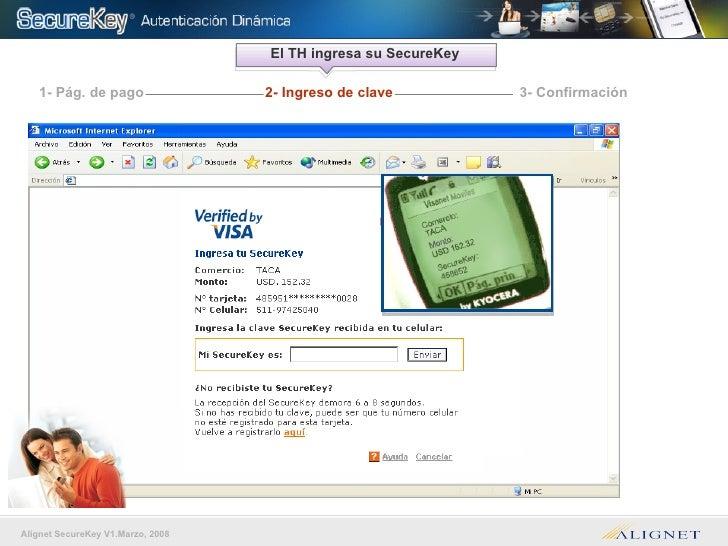 El TH ingresa su SecureKey 1- Pág. de pago 3- Confirmación 2- Ingreso de clave