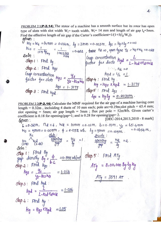 Electrical machine Design problems with solutions