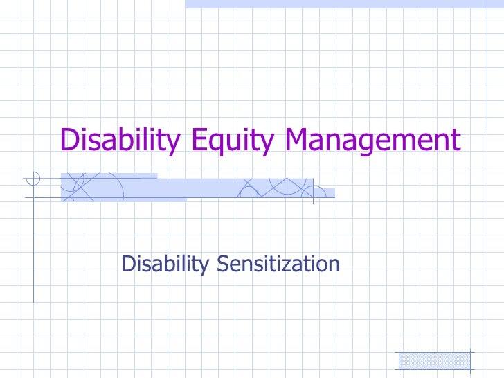 Disability Equity Management Disability Sensitization