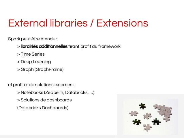 External libraries / Extensions Spark peut être étendu : > librairies additionnelles tirant profit du framework > Time Ser...