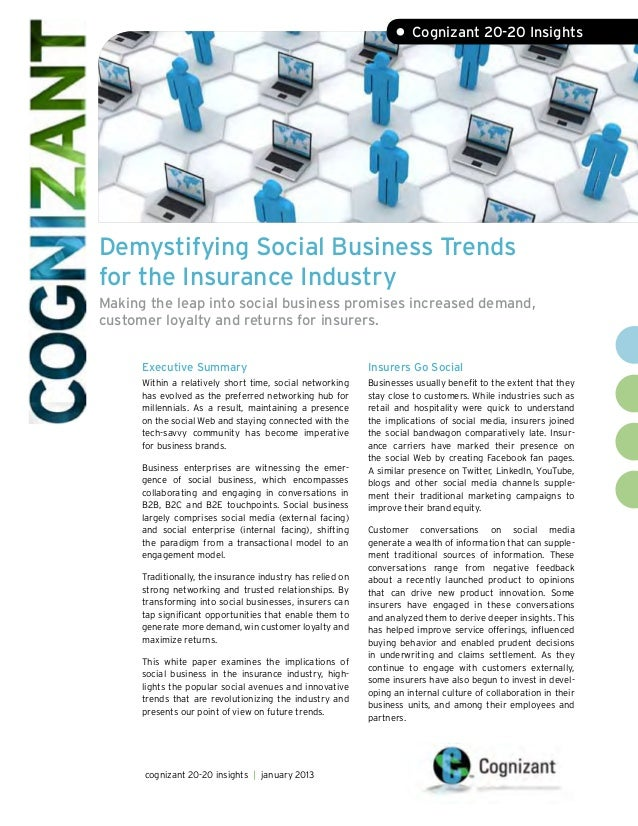 • Cognizant 20-20 InsightsDemystifying Social Business Trendsfor the Insurance IndustryMaking the leap into social busines...