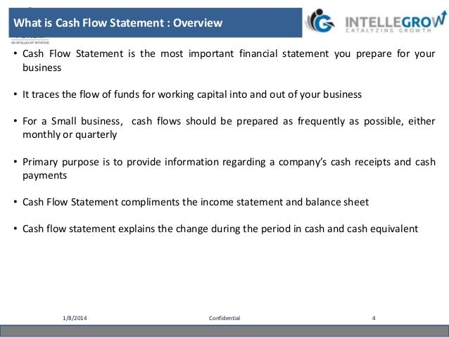 constructing the statement of cash flow The cash flow statement is a clear illustration of the actual cash transactions in and out of the company when you build a cash flow statement, it allows you to see if your business will.