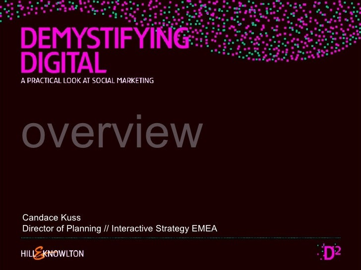 overview Candace Kuss Director of Planning // Interactive Strategy EMEA
