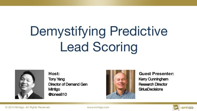© 2014 Mintigo. All Rights Reserved.  www.mintigo.com Demystifying Predictive