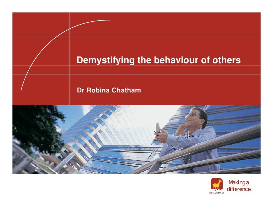 Demystifying the behaviour of others   Dr Robina Chatham                                      Making a                    ...