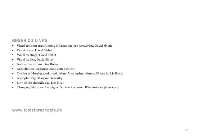 131  BØGER OG LINKS  • Visual tools for transforming information into knowledge, David Hyerle  • Visual teams, David Sibbe...