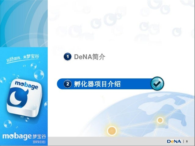 1 DeNA简介2 孵化器项目介绍              8