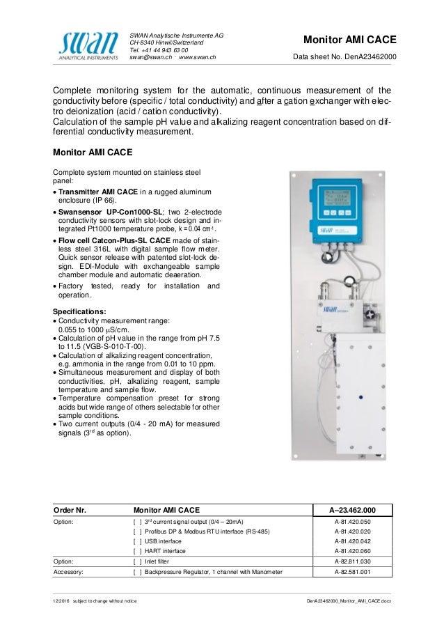 SWAN Analytische Instrumente AG CH-8340 Hinwil/Switzerland Tel. +41 44 943 63 00 swan@swan.ch . www.swan.ch Monitor AMI CA...