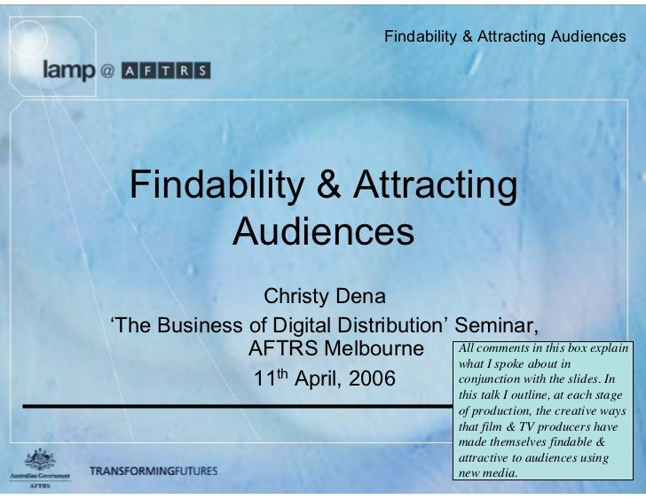 Findability  Attracting Audiences       Findability  Attracting        Audiences                Christy Dena 'The Business...