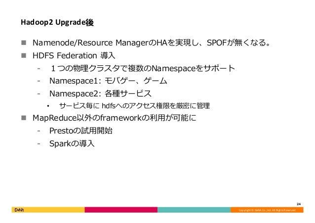 Copyright©DeNACo.,Ltd.AllRightsReserved. Hadoop2Upgrade後 n Namenode/Resource ManagerのHAを実現し、SPOFが無くなる。 n HDFS Fe...