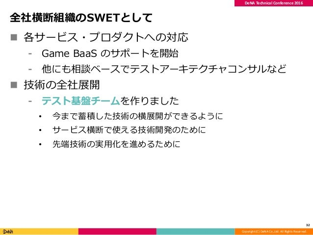 Copyright (C) DeNA Co.,Ltd. All Rights Reserved. DeNA Technical Conference 2016 全社横断組織のSWETとして  各サービス・プロダクトへの対応 ⁃ Game Ba...