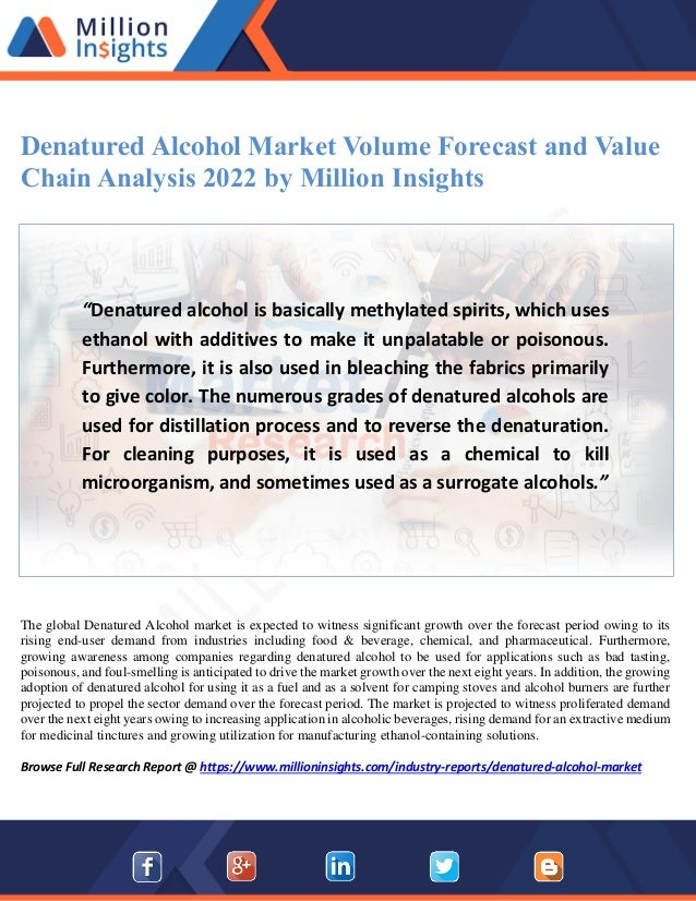 Denatured alcohol market volume forecast and value chain
