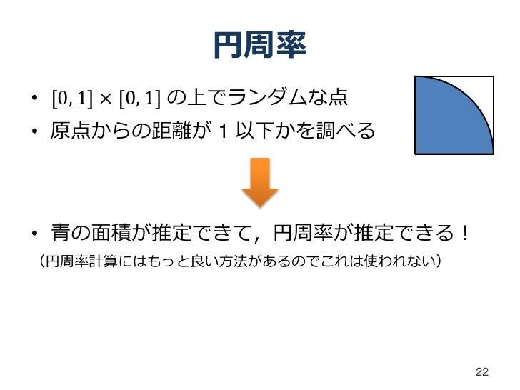 円周率• [0, 1] × [0, 1] の上でランダムな点• 原点からの距離が 1 以下かを調べる• 青の面積が推定できて,円周率が推定できる!(円周率計算にはもっと良い方法があるのでこれは使われない)                    ...