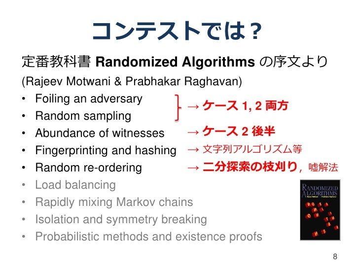 コンテストでは?定番教科書 Randomized Algorithms の序文より(Rajeev Motwani & Prabhakar Raghavan)• Foiling an adversary                      ...