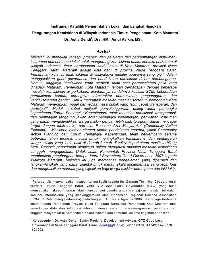 Instrumen Katalitik Pemerintahan Lokal dan Langkah-langkah     Pengurangan Kemiskinan di Wilayah Indonesia Timur: Pengalam...