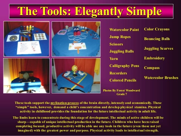 The Tools: Elegantly Simple Watercolor Paint Jump Ropes Scissors Juggling Balls Yarn Calligraphy Pens Recorders Colored Pe...