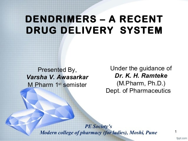 DENDRIMERS – A RECENT DRUG DELIVERY SYSTEM Under the guidance of Dr. K. H. Ramteke (M.Pharm, Ph.D.) Dept. of Pharmaceutics...