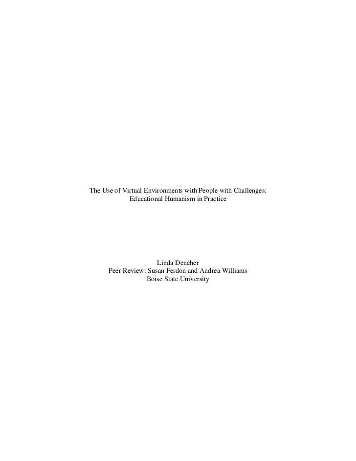 The Use of Virtual Environments with People with Challenges:             Educational Humanism in Practice                 ...