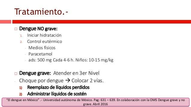 Tratamiento.-  Dengue NO grave: 1. Iniciar hidratación 2. Control eutérmico - Medios físicos - Paracetamol - ads: 500 mg ...