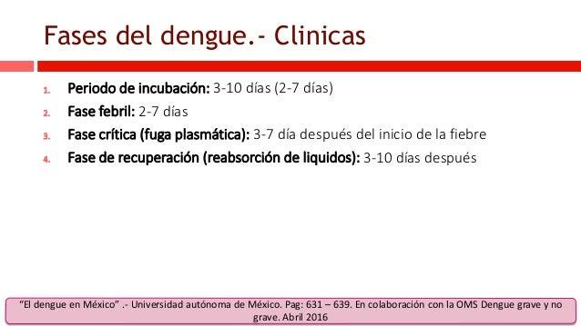 Fases del dengue.- Clinicas 1. Periodo de incubación: 3-10 días (2-7 días) 2. Fase febril: 2-7 días 3. Fase crítica (fuga ...