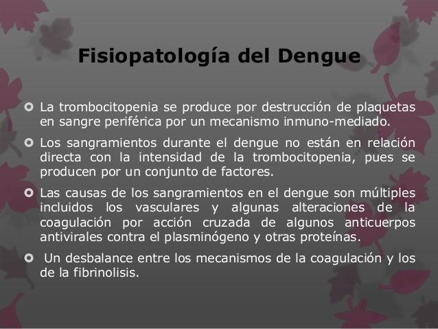 Fisiopatología del Dengue  La trombocitopenia se produce por destrucción de plaquetas en sangre periférica por un mecanis...