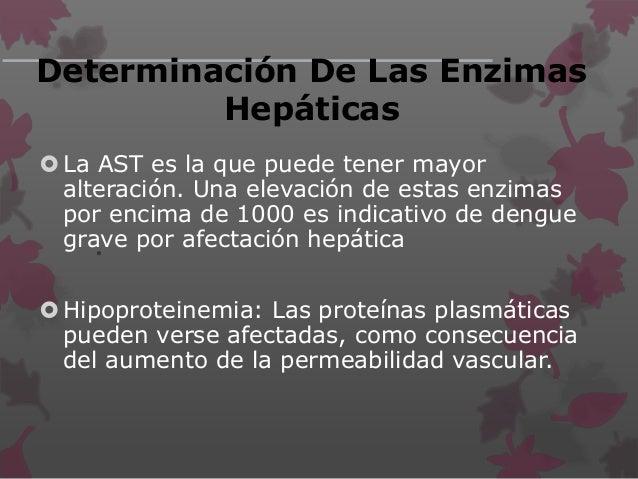• Determinación De Las Enzimas Hepáticas La AST es la que puede tener mayor alteración. Una elevación de estas enzimas po...