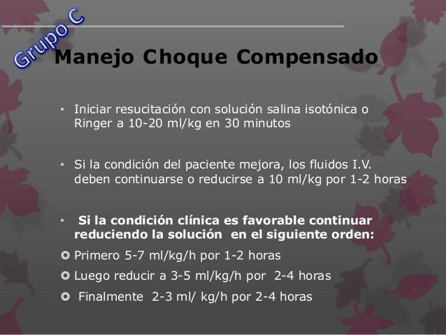 Manejo Choque Compensado (Cont.)  Si los datos de choque temprano persisten debe hacerse controlar el hematocrito después...