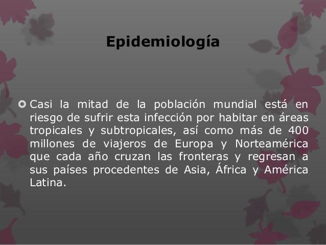 Epidemiología  Casi la mitad de la población mundial está en riesgo de sufrir esta infección por habitar en áreas tropica...