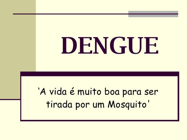 DENGUE ' A vida é muito boa para ser tirada por um Mosquito'