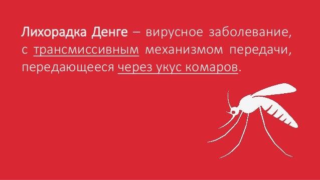 Лихорадка Денге – вирусное заболевание, с трансмиссивным механизмом передачи, передающееся через укус комаров.