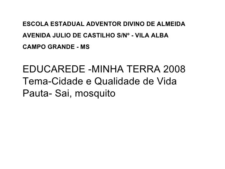 EDUCAREDE -MINHA TERRA 2008 Tema-Cidade e Qualidade de Vida Pauta- Sai, mosquito ESCOLA ESTADUAL ADVENTOR DIVINO DE ALMEID...