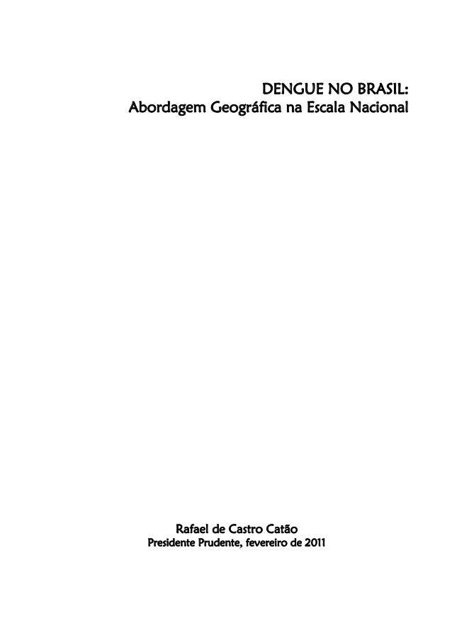 DENGUE NO BRASIL:Abordagem Geográfica na Escala NacionalRafael de Castro CatãoPresidente Prudente, fevereiro de 2011