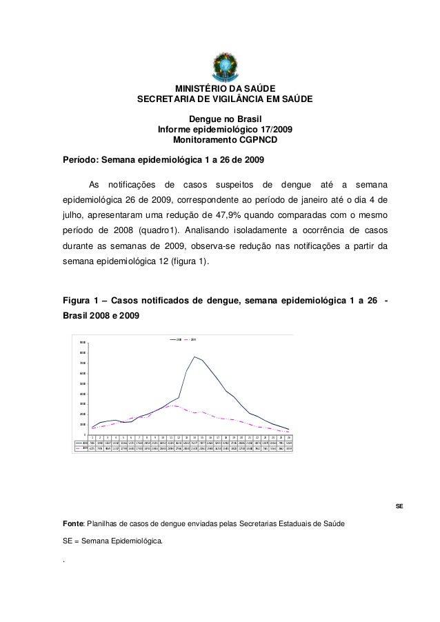 MINISTÉRIO DA SAÚDESECRETARIA DE VIGILÂNCIA EM SAÚDEDengue no BrasilInforme epidemiológico 17/2009Monitoramento CGPNCDPerí...