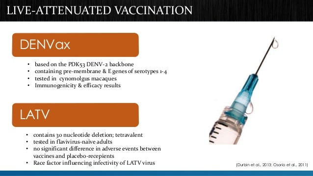 LIVE-ATTENUATED VACCINATION  DENVax  DENVax  • based on the PDK53 DENV-2 backbone  • containing pre-membrane & E genes of ...