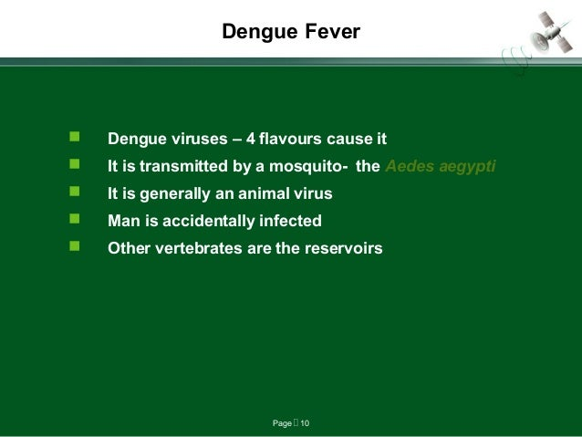 Page  10 Dengue Fever  Dengue viruses – 4 flavours cause it  It is transmitted by a mosquito- the Aedes aegypti  It is...