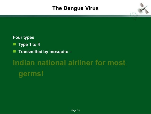 Page  5 The Dengue Virus Four types  Type 1 to 4  Transmitted by mosquito – Indian national airliner for most germs!