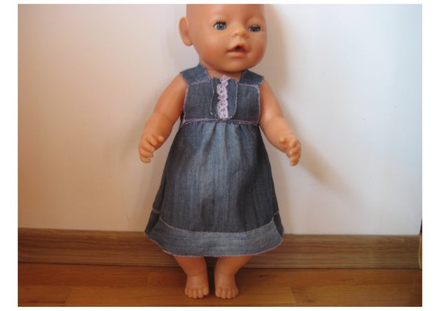 Denim dress for Zapf Baby Born doll - free pattern