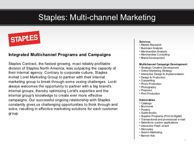 Staples: Multi-channel Marketing                                                                      Services            ...
