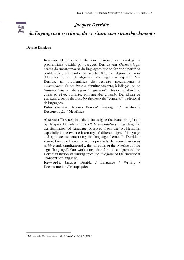 DARDEAU, D. Ensaios Filosóficos, Volume III - abril/2011 Jacques Derrida: da linguagem à escritura, da escritura como tran...