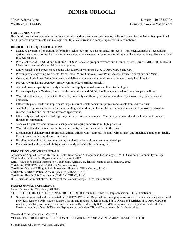 Denise Oblocki Resume Linkedin