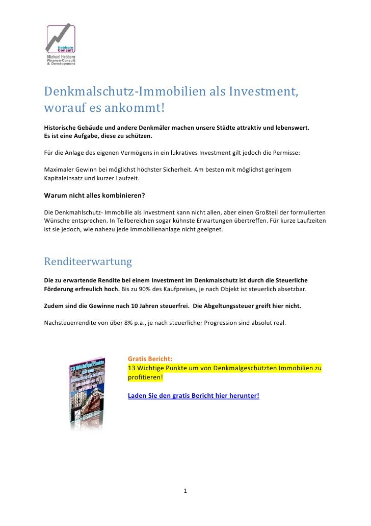 Denkmalschutz‐ImmobilienalsInvestment,woraufesankommt!HistorischeGebäudeundandereDenkmälermachenunsereStäd...
