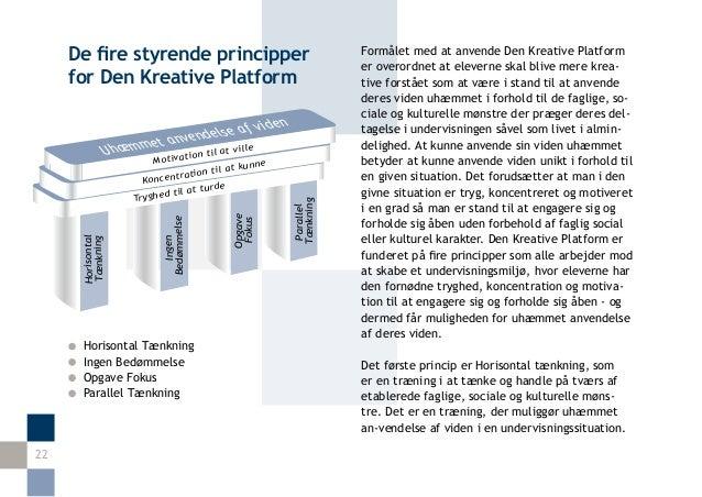 De fire styrende principper                                       Formålet med at anvende Den Kreative Platform           ...