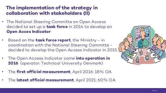 The implementation of the strategy in collaboration with stakeholders (II) • The National Steering Committe on Open Access...