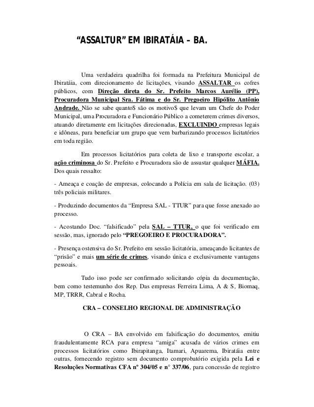 """""""ASSALTUR"""" EM IBIRATÁIA – BA. Uma verdadeira quadrilha foi formada na Prefeitura Municipal de Ibiratáia, com direcionament..."""